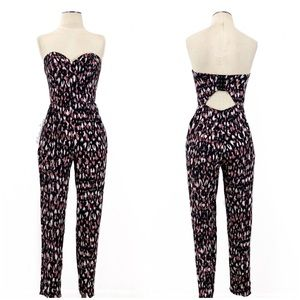 Lovers + Friends- Dakota Animal Strapless Jumpsuit
